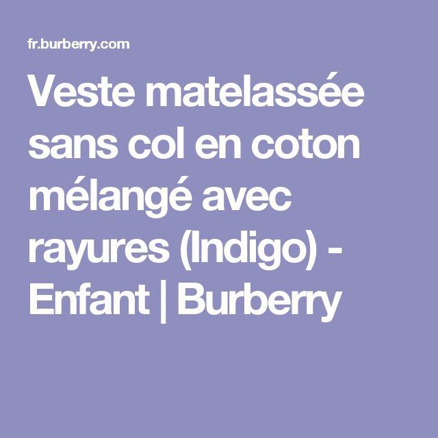 Veste matelassée sans col en coton mélangé avec rayures (Indigo) - Enfant | Burberry