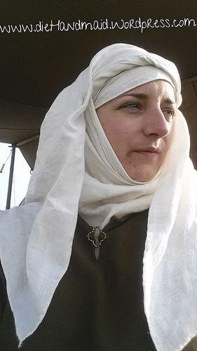 Kopftuch, Wimpel ,Schleier, 13.Jhd. Mittelalter, medieval Reenactment, Headscarf, veil, wimple, Kleidung 13. Jahrhundert   die Handmaid