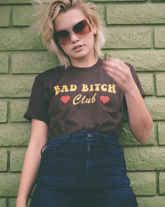 Bad Bitch Club tshirt- womens vintage inspired tee- 70s tee- 80s tee- monogram tshirt- thin tshirt- vintage tshirt- brown tshirt- usa made