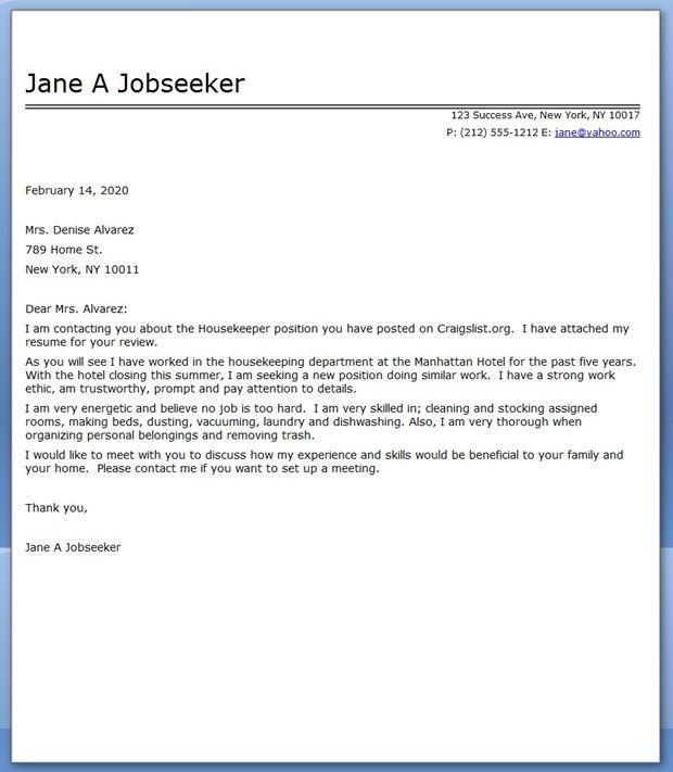 Housekeeper Cover Letter Sample
