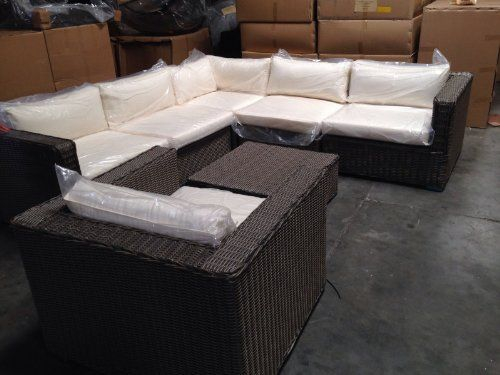 Distressed Outdoor Wicker Sectional Sofa Chair Coffee Table Patio Furniture  Set Husen Http://