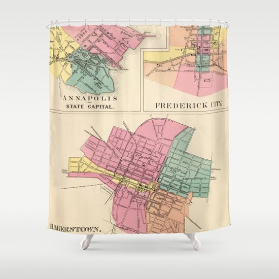 117 best Map Shower Curtains images on Pinterest  Shower curtains
