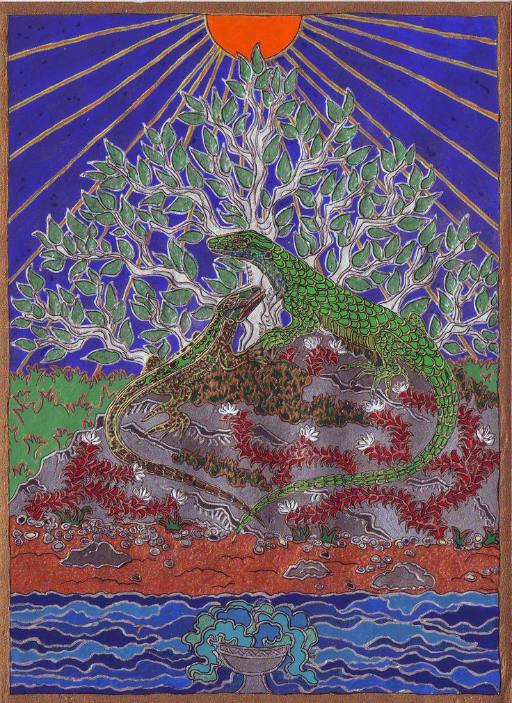 """E két, öreg zöld gyík gyakori vendége álmaimnak. 2006 dec.Szimbólumtár: """"Az isteni bölcsességhez és a jó szerencséhez is társították, az ókorban Hermész/ Merkúriusz attribútuma volt"""""""