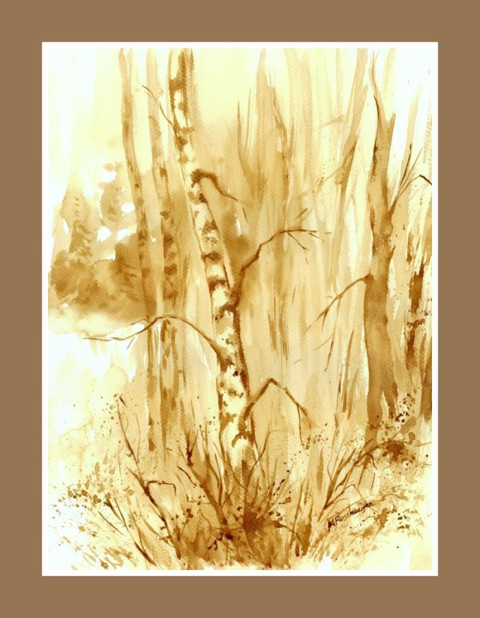 Brzoza -  watercolour painted with coffee  http://www.artmarylacoffee.pl/