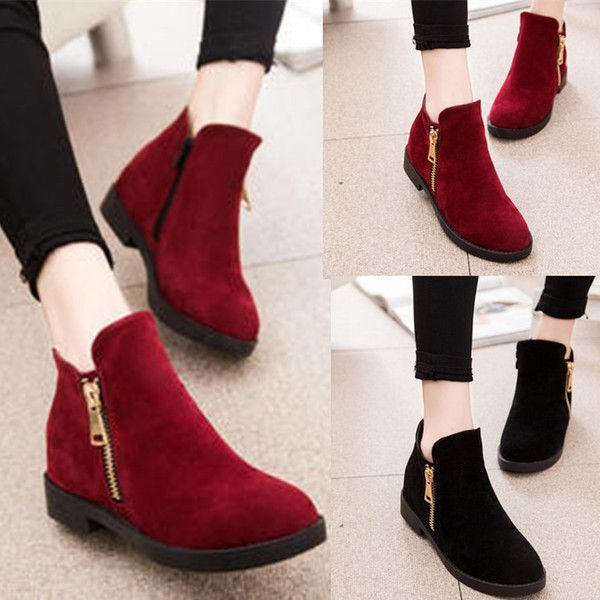 Womens Hot Zip Ankle Dress Casual Boots