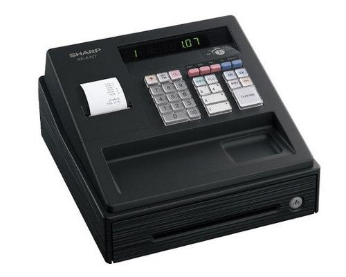 Sharp XE-A107 Cash Register with 8 Departments - Black - XEA107