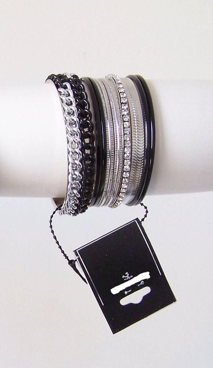 Group of 9 bracelets - silver black
