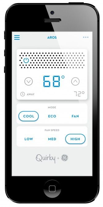GE/Quirky partnership releases smart airconditioner By David Szondy March 21, 2014 The Aros air conditioner WINK app control