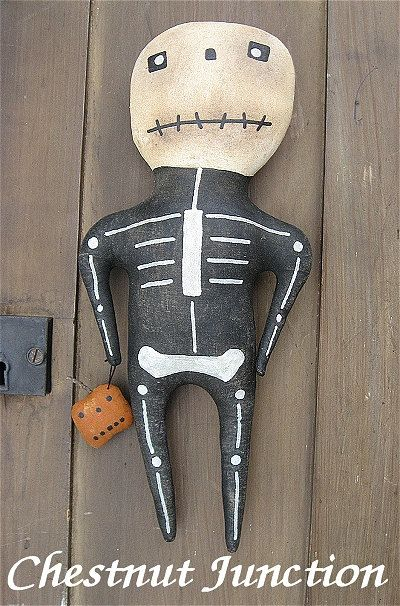 Mr. Bones ePattern primitive halloween doll by chestnutjunction, $3.99