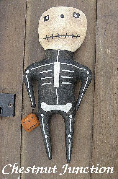$1.99 Mr. Bones EPATTERN primitive halloween cloth by chestnut junction