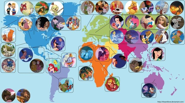 A world map of where Disney characters are from!!!