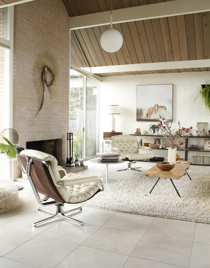 Brick Fireplace U0026 Ceiling Treatment With Beams. Eclectic Eichler Home In Northern  California Via Houzz