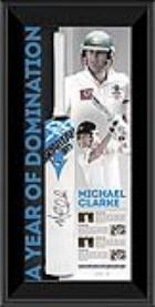Michael Clarke Signed & Framed Cricket Bat 'A Year of Domination'