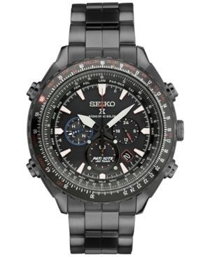 Seiko Men's Chronograph Patriots Jet Team Limited Edition Prospex Radio Synch Solar Black Stainless Steel Bracelet Watch