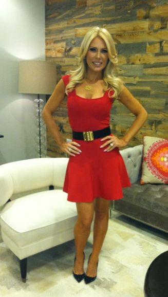 Gretchen Rossi's Fit & Flare Red Dress, Spiked Pumps, Belt & Makeup DETAILS: http://www.bigblondehair.com/real-housewives/rhoc/gretchen-rossis-red-fit-flare-dress/