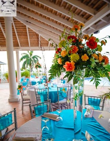 Tropical Floral Trumpet Vase Wedding Centerpieces At A Hummingbird Hall Jamaica Destination Reception In Rose