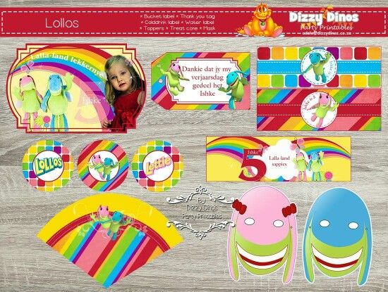 Colourful lollos en lettie diy printables. Bucket labels, thank you tag, colddrink label, toppers, treat cone, masks and water bottle label