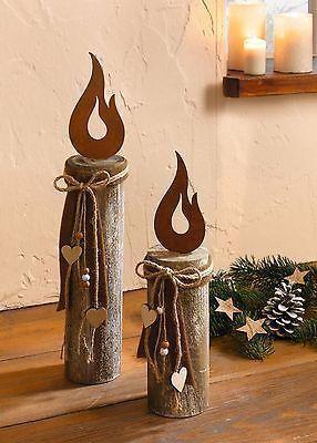 Holz-Säule Kerze 2 er Set Deko-Säule Weihnachtsd…