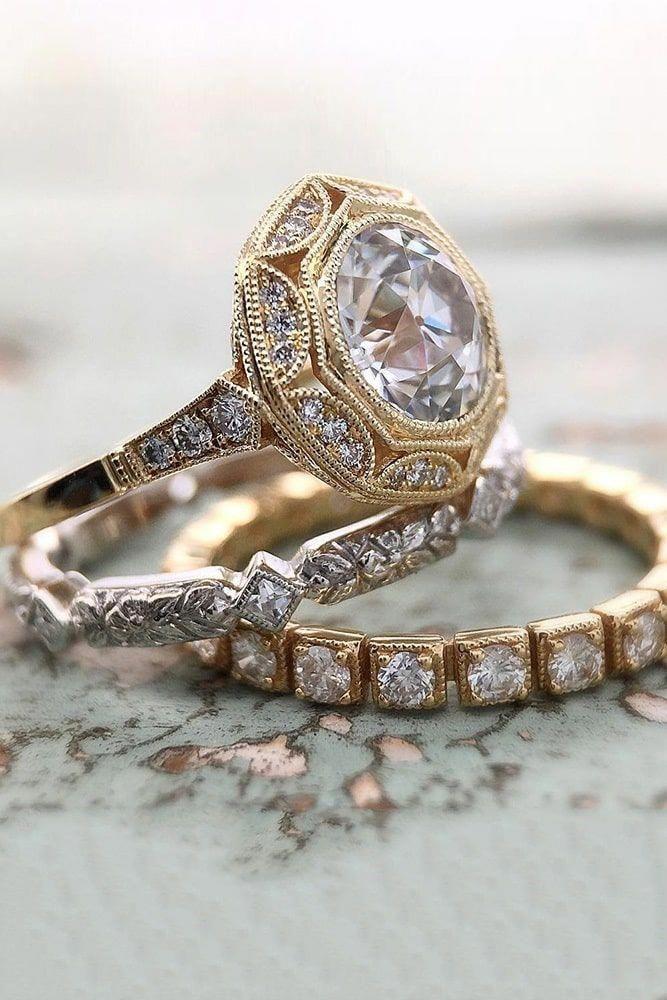 Rose Gold Wedding Rings Unique Ring Sets Two Tone Engagement Diamond Rosegoldweddingrings