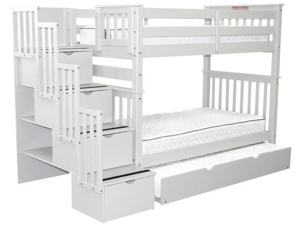 Bunk Beds Tall Twin Over Twin Stairway White Trundle In 2020