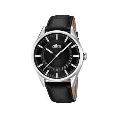Montre Lotus, homme, mouvement à quartz, 3 aiguilles, boitier rond acier, cadran noir, bracelet cuir, étanche 5 ATM   L15978/2