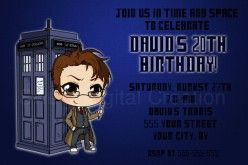 There are many custom invitations available for your Doctor Who party such as the invite pictured here from Sweet Digital Creation. Others include the Doctor, Tardis and British themed invites.
