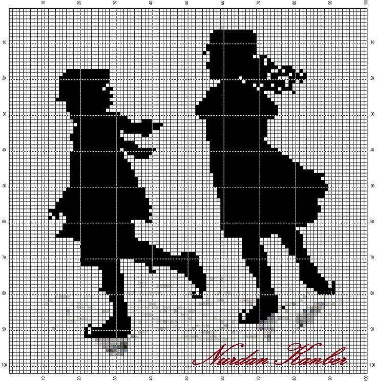 Points de croix *@* Monochrome Silhouette - Victorian children on skating