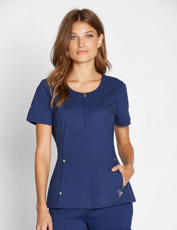 The Hidden Zipper Top in Estate Navy Blue is a contemporary addition to women's medical scrub outfits. Shop Jaanuu for scrubs, lab coats and other medical apparel. $39.00 on 10/7/17