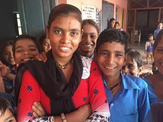 Shanti with the school children
