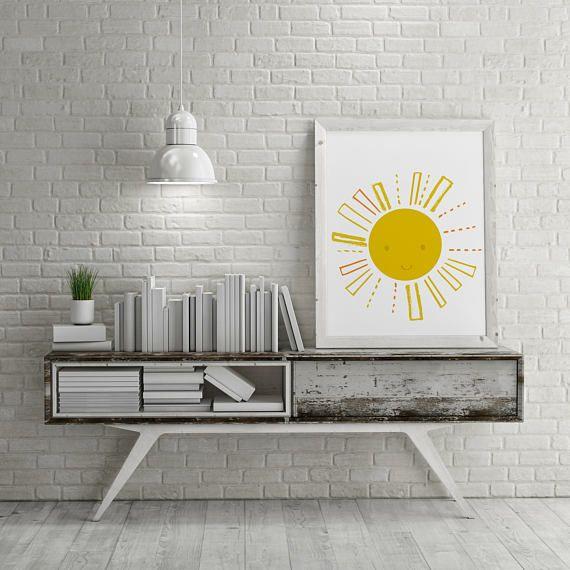 Sunshine Yellow Playroom Printable Wall ArtSun Family Room