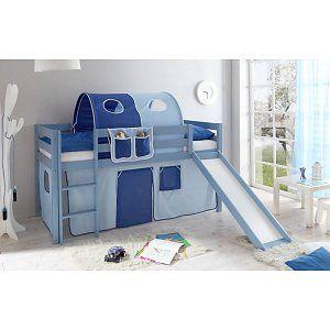 Halfhoogslaper met glijbaan Manuel- massief grenen - blauw gelakt - kleur lichtblauw-donkerblauw - zonder tunnel