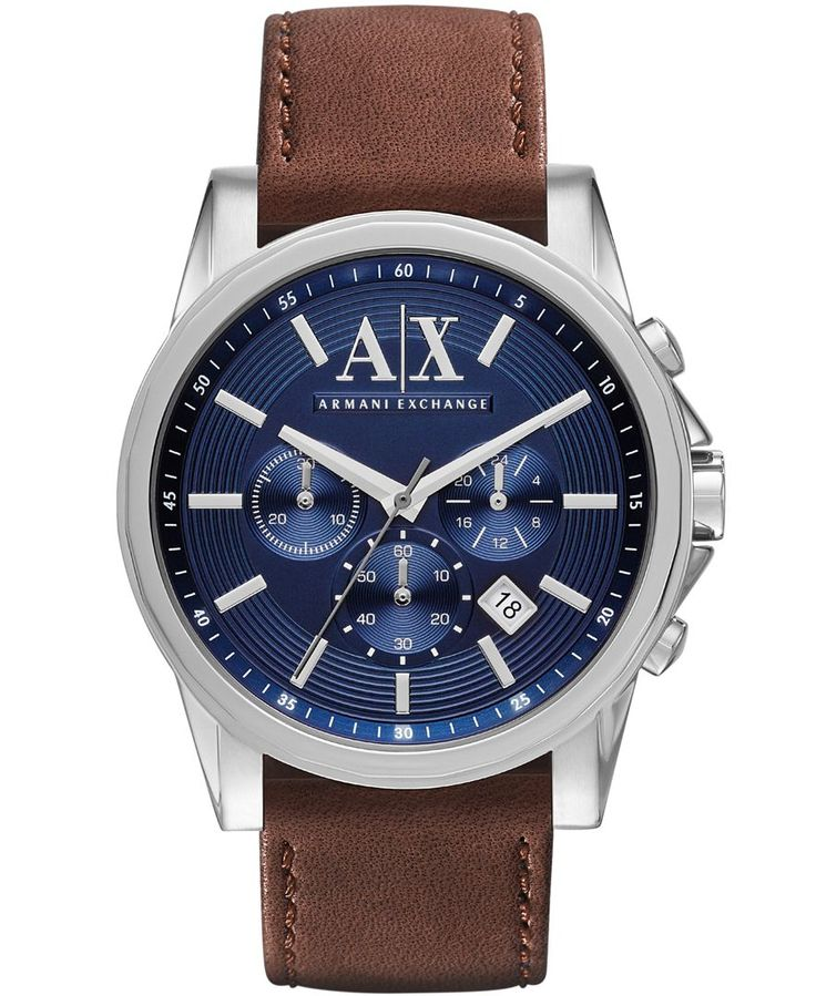 A|X Armani Exchange Men's Chronograph Brown Leather Strap Watch 45mm AX2501