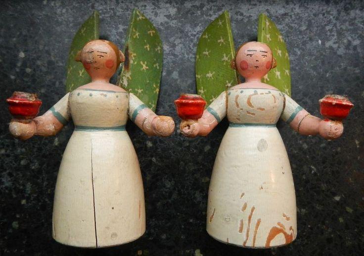 2x Engel Kerzenhalter Kerzenleuchter 14 cm Weihnachtsschmuck ALT Erzgebirge