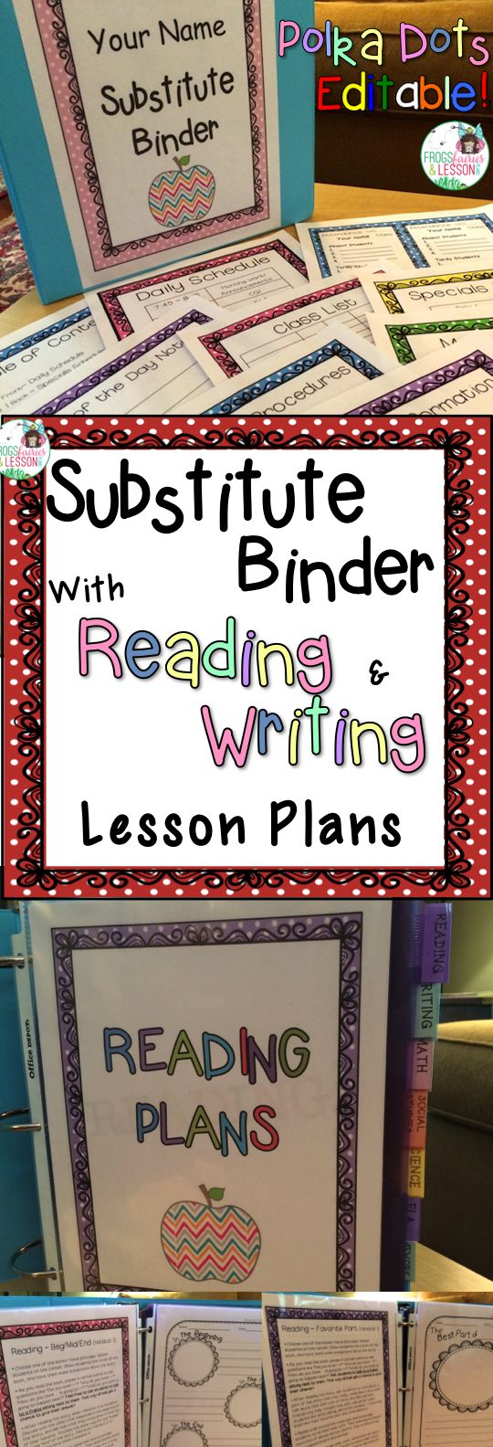 EDITABLE Substitute Binder with Reading and Writing Lesson Plans! Cover choices and EDITABLE templates that will make it easy for you to take a day off when you need one! Several Reading and Writing lesson plans PLUS handouts that go with each lesson are included. Comes with step by step directions. Polka Dots theme.
