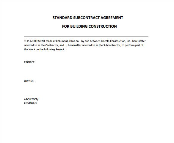 Subcontractor Agreement Template Standard Construction Contract - subcontractor agreement template