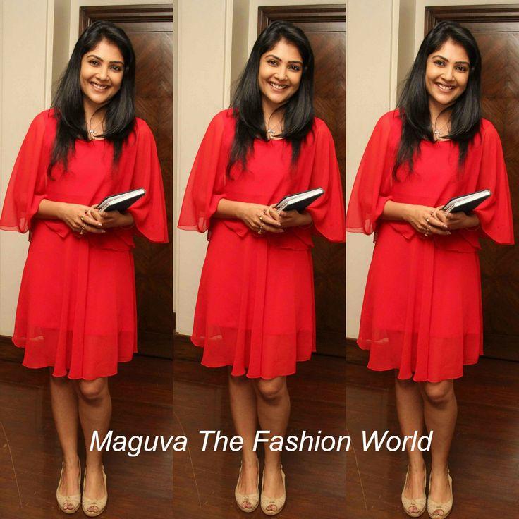 Kamalini Mukherjee in Red frock in a book launch   http://www.maguvathefashionworld.com/2014/08/kamalini-mukherjee-in-red-frock-in-book.html#.U-2kNjJdWY8