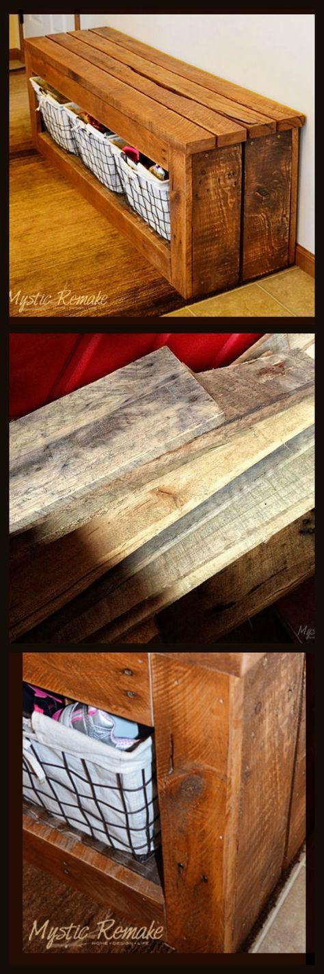 Pallet Wood Storage Bench