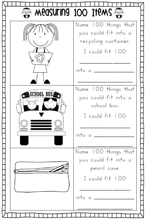 100th day of school worksheets and printouts.