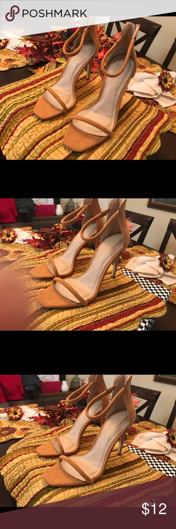 Camel strappy heels These shoes are so amazing . They look so good on. Only worn once still in great condition Shoes Heels