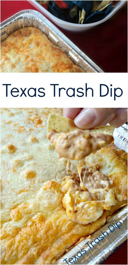 Texas Trash Dip An Affair from the Heart - Creamy bean dip packed with flavor and topped with all sorts of ooey gooey cheese, baked to dipping perfection.  I could make a meal out of this dip!