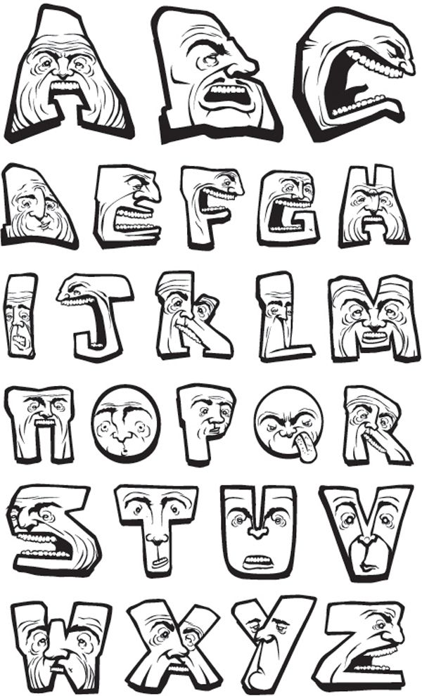 Permanent Link to : graffiti alphabet letters face