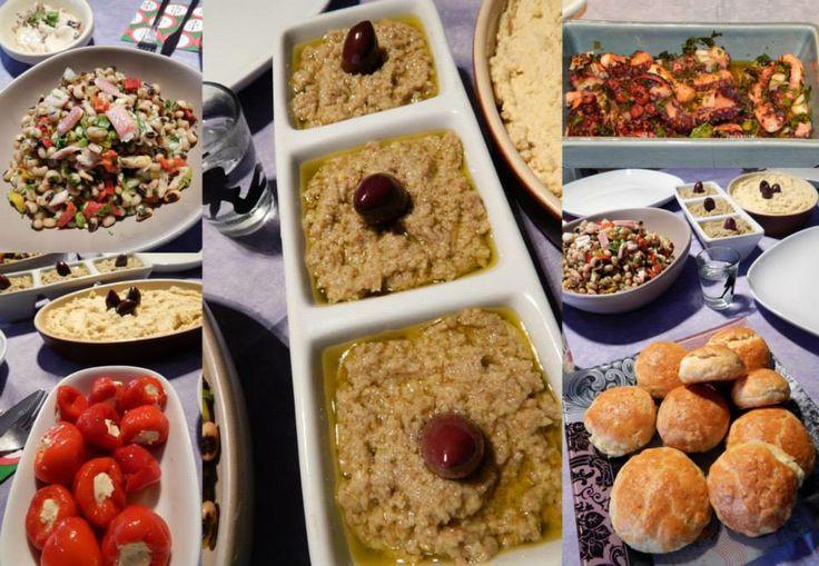 Ταραμοσαλάτα http://www.kitchenstori.es/2013/03/white-taramosalata.html Ντιπ αντζούγιας http://laxtaristessyntages.blogspot.gr/2014/02/dip-antzougias.html Μαυρομάτικα σαλάτα με καπνιστό χέλι http://pepiskitchen.blogspot.gr/2011/06/blog-post_23.html Χταποδάκι στο γκριλ http://www.pepiskitchen.blogspot.gr/2013/03/blog-post_12.html Τυροπιτάκια