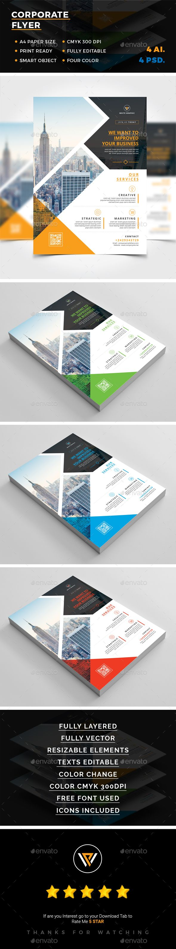 Corporate Flyer Template PSD, Vector EPS