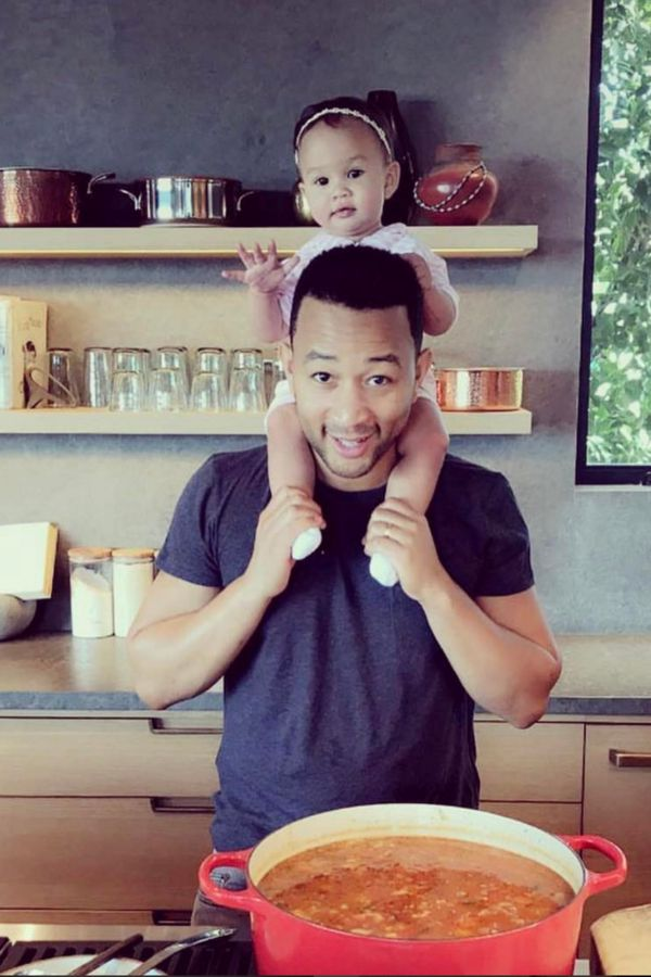Little Chef Luna in the kitchen with dad John Legend - Seriously, Luna Legend might be the cutest baby on the 'gram. Don't believe us, here's proof. | ESSENCE.COM