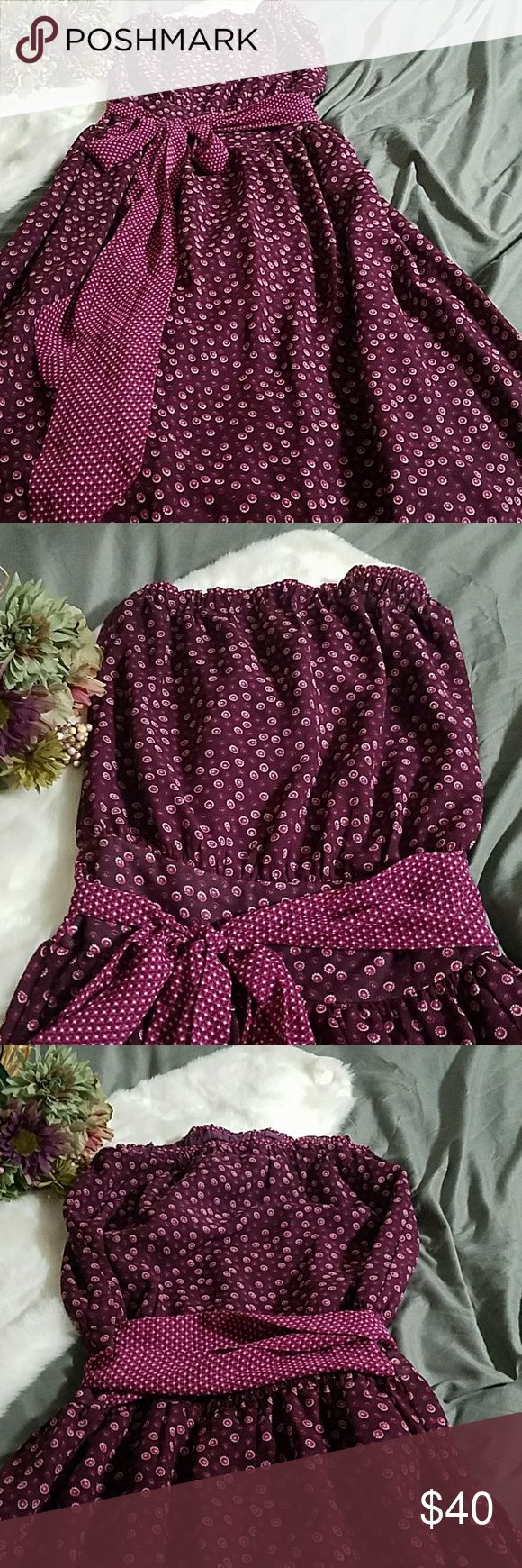 Strapless maxi dress Like new, floral print Costa Blanca Dresses Maxi