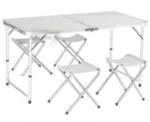 Stół turystyczny aluminiowy, 4 krzesła