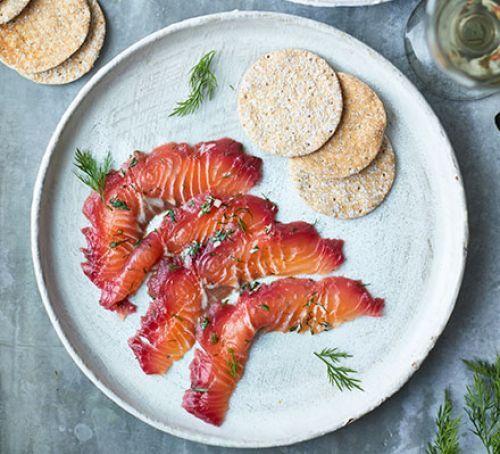 Beetroot & blackberry cured salmon