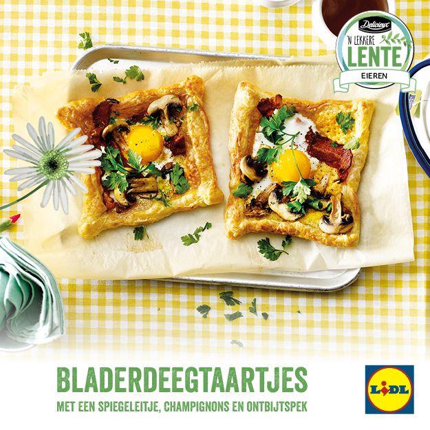 Recept voor bladerdeegtaartjes met een spiegeleitje, champignons en ontbijtspek #Lente bij #Lidl
