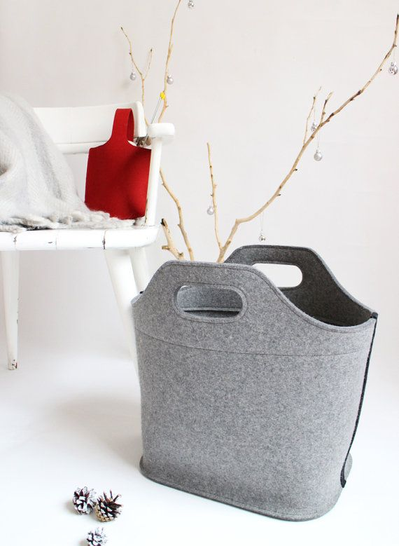 Cottage Bag / Large Felt Tote bag / Felt Laundry Basket /  Felt Magazine Rack /GIft for Mom / Grey Felt Bag