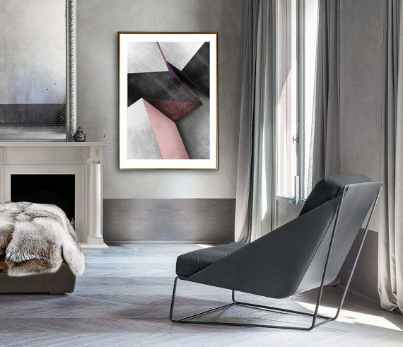 Polygonal Printable Wall Art Poly Art Poster Geometric Pink Texture Grey Room Decor, Abstract art print, Complex geometry, Modern Large A0